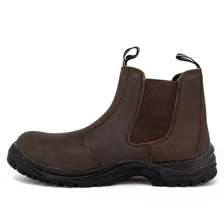 Quality brown leather safety shoes 3104