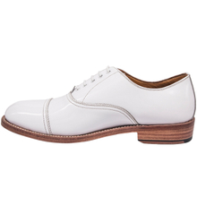 Shiny white men's office shoes 1255