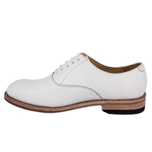 White shiny patent leather office shoes 1216